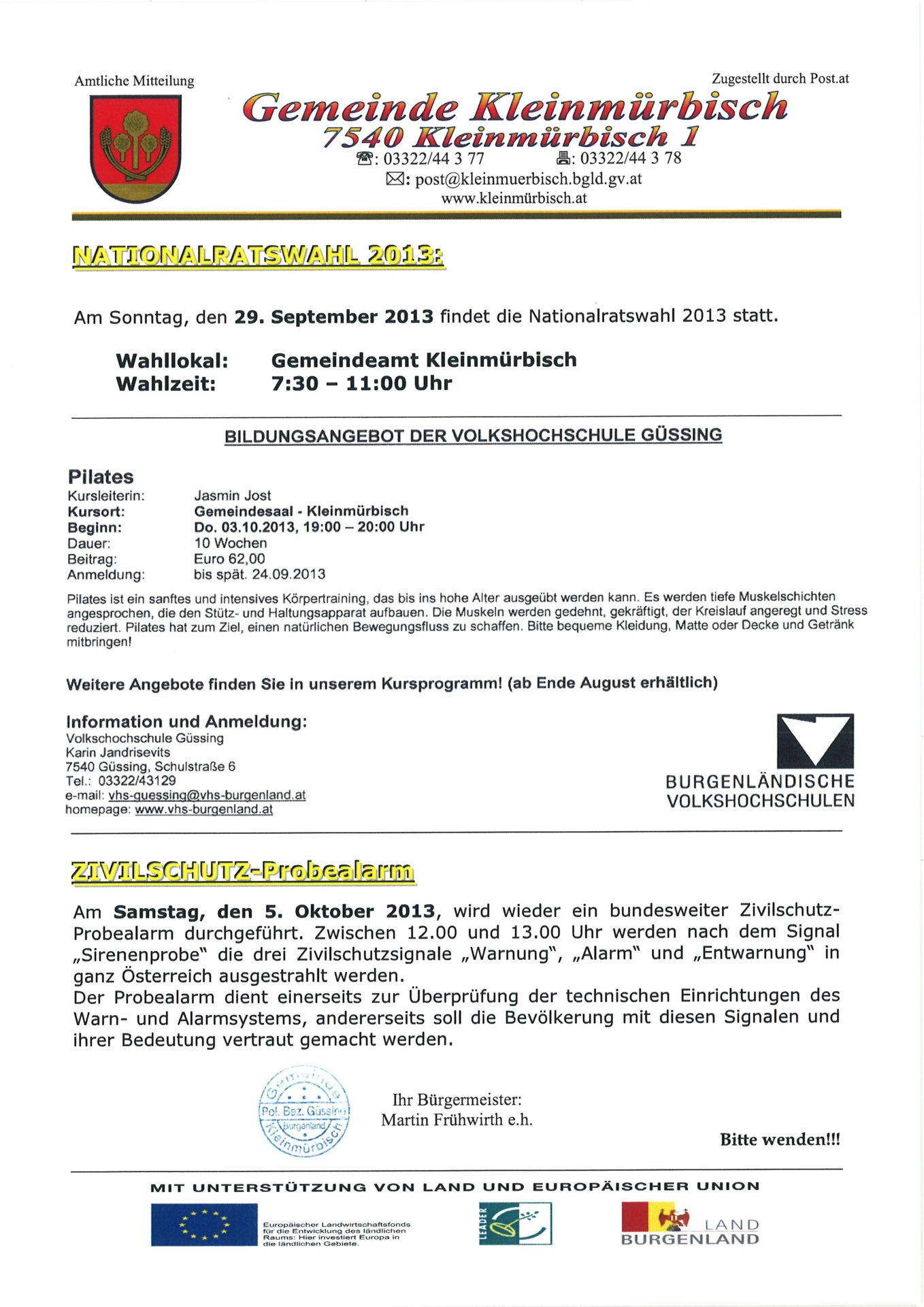 Amtliche Mitteilung April 2013